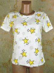 Футболка женская желтые звезды, арт. 6285