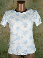 Футболка женская голубые звезды, арт. 6287