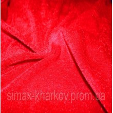 Ткань велюр стрейч, бархат, Код: BY-17 Красный