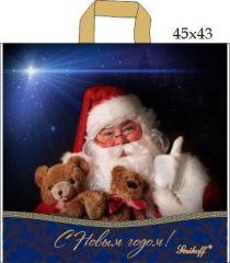 Пакет с петлевой ручкой (45x43+3/100 мк)Дед Мороз Джерела(25шт/уп.)