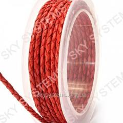 Leather wattled cord | 3,0 mm, Red 48 | Skye
