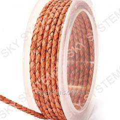 Leather wattled cord | 3,0 mm, Red 47 | Skye