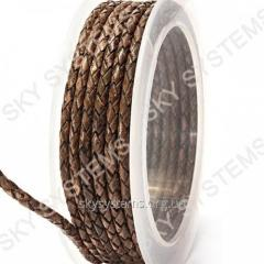 Leather wattled cord | 3,0 mm, Brown 18 | Skye