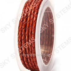 Leather wattled cord | 3,0 mm, Brown 37 | Skye