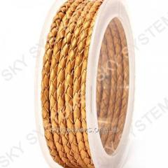 Leather wattled cord | 3,0 mm, Gold 06 | Skye
