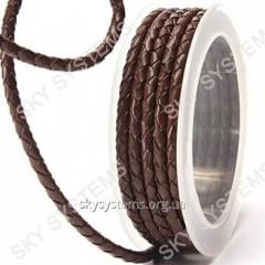Leather wattled cord | 4,0 mm, Brown 01 | Skye