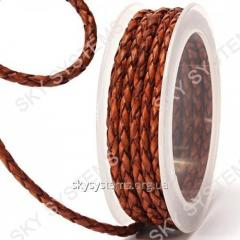 Leather wattled cord | 4,0 mm, Brown 02 | Skye