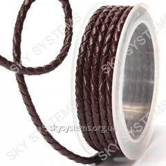 Leather wattled cord | 4,0 mm, Brown 03 | Skye