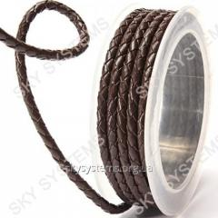 Leather wattled cord | 4,0 mm, Brown 04 | Skye