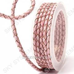 Leather wattled cord | 4,0 mm, Pink 13 | Skye
