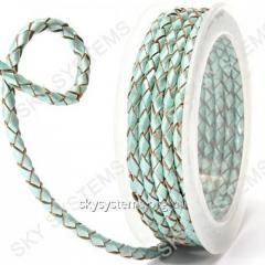 Leather wattled cord | 4,0 mm, Turquoise 21 | Skye