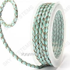 Leather wattled cord | 4,0 mm, Turquoise 30 | Skye