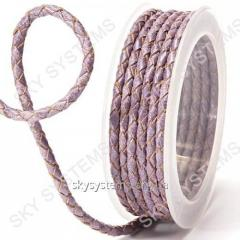 Leather wattled cord | 4,0 mm, Violet 20 | Skye