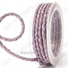 Leather wattled cord | 4,0 mm, Violet 27 | Skye