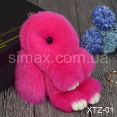 Брелок Кролик Брелок на сумку Кролик из натурального меха Rex, Код: XTZ-01 Розовый