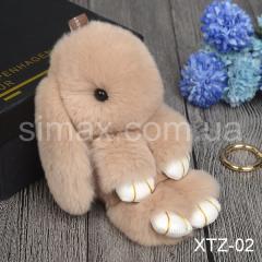 Брелок Кролик Брелок на сумку Кролик из натурального меха Rex, Код: XTZ-02 Бежевый