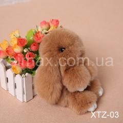 Брелок Кролик Брелок на сумку Кролик из натурального меха Rex, Код: XTZ-03 Светло-коричневый