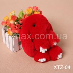Брелок Кролик Брелок на сумку Кролик из натурального меха Rex, Код: XTZ-04 Красный