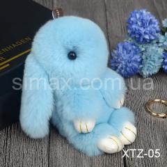 Брелок Кролик Брелок на сумку Кролик из натурального меха Rex, Код: XTZ-05 Голубой