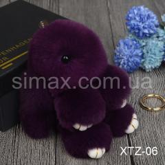 Брелок Кролик Брелок на сумку Кролик из натурального меха Rex, Код: XTZ-06 Фиолетовый