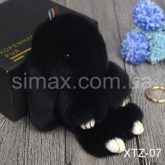 Брелок Кролик Брелок на сумку Кролик из натурального меха Rex, Код: XTZ-07 Черный