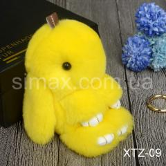 Брелок Кролик Брелок на сумку Кролик из натурального меха Rex, Код: XTZ-09 Желтый