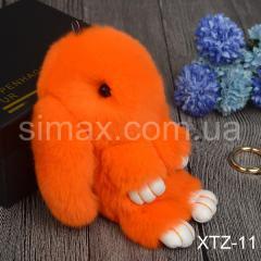 Брелок Кролик Брелок на сумку Кролик из натурального меха Rex, Код: XTZ-11 Оранжевый