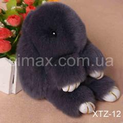 Брелок Кролик Брелок на сумку Кролик из натурального меха Rex, Код: XTZ-12 Темно-серый