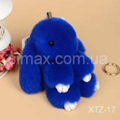 Брелок Кролик Брелок на сумку Кролик из натурального меха Rex, Код: XTZ-17 Синий