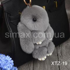 Брелок Кролик Брелок на сумку Кролик из натурального меха Rex, Код: XTZ-19 Светло-серый