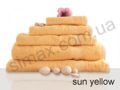 Полотенце махровое гладкокрашенное 100х150см, Код:  Sun yellow 100х150