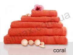 Полотенце махровое гладкокрашенное 40х70см, Код: Coral 40х70