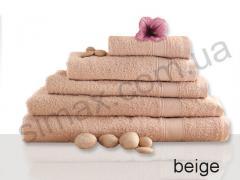 Полотенце махровое гладкокрашенное 70х140см, Код: Beige 70х140