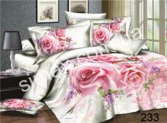 Постельная ткань Сатин-пано 3D Розы, Код: 233 Розы