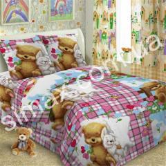 Постельный комплект детский поплин, Код: Мишка и Зайчик