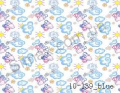 Фланель набивная  Слоники  (голубой) ширина 2200мм, Код: 10-0139 Blue