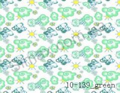 Фланель набивная  Слоники  (Зеленый) ширина 2200мм, Код: 10-0139 Green