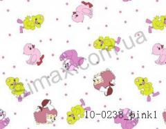Фланель набивная Зверушки (Розовый) ширина 2200мм, Код: 10-0238_Pink 1