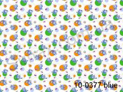 Фланель набивная Котята (Голубой) ширина 1800мм, Код: 10-0377 Blue