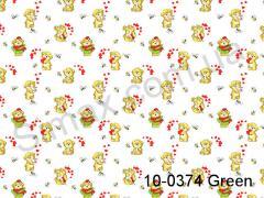 Фланель набивная Мишки (Зеленый) ширина 1800мм, Код: 10-0374 Green