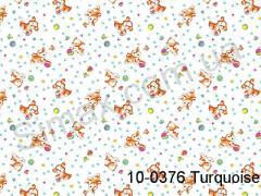 Фланель набивная Щенки ширина 1800мм, Код: 10-0376 Turquoise
