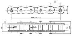 Секция тягового органа элеватора(цепь шаг 95 мм)
