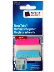 Маленькая самоклеющаяся закладка-выделитель, бирюзовый и розовый, 20 шт. Размер 51*38 мм