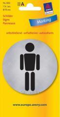Металлизированная указательная табличка WC-мужской туалет