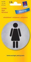 Металлизированная указательная табличка WC-женский туалет