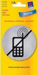 Металлизированная указательная табличка Отключить мобильные телефоны