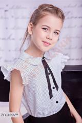 Блузка школьная короткий рукав для девочки