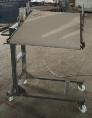 The conveyor for cutting of the tes