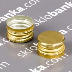 Колпачок алюминиевый 28*18 золото резьба 25 штук