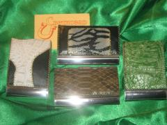 Card holders from exotic animal species of